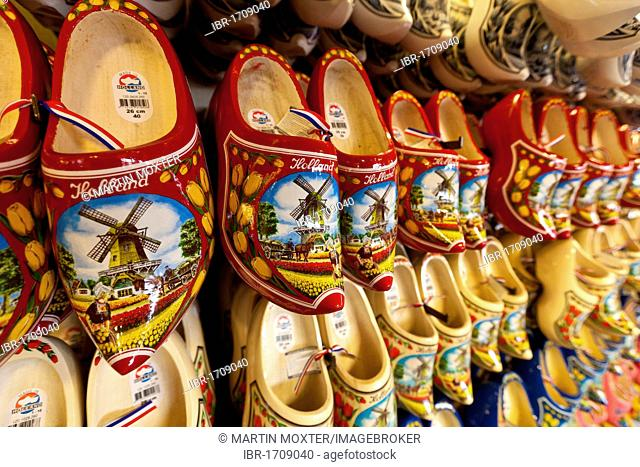 Traditional Dutch wooden shoes, wooden clogs, Amsterdam, Holland, Netherlands, Europe