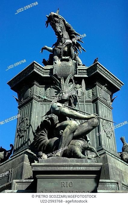Brazil, Rio de Janeiro, the Monument to Dom Pedro I in Praca Tiradentes