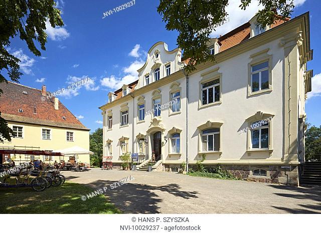 Kahnsdorf Castle and Schiller Café on Hainer lake near Leipzig, Saxony, Germany