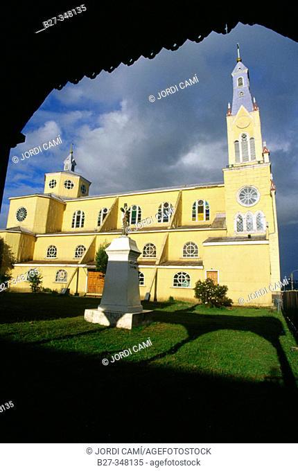 San Francisco wooden church, built in 1906. Castro. Chiloé island. Chile