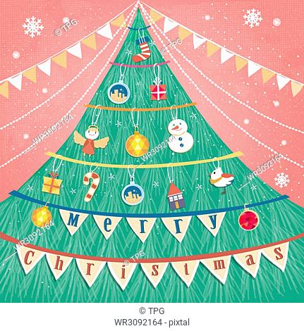 Merry Christmas greeting card in lovely hand drawn style