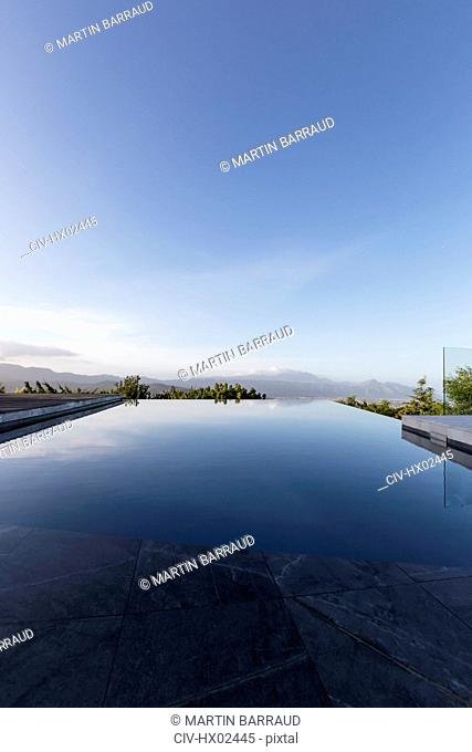 Tranquil luxury infinity pool below blue sky