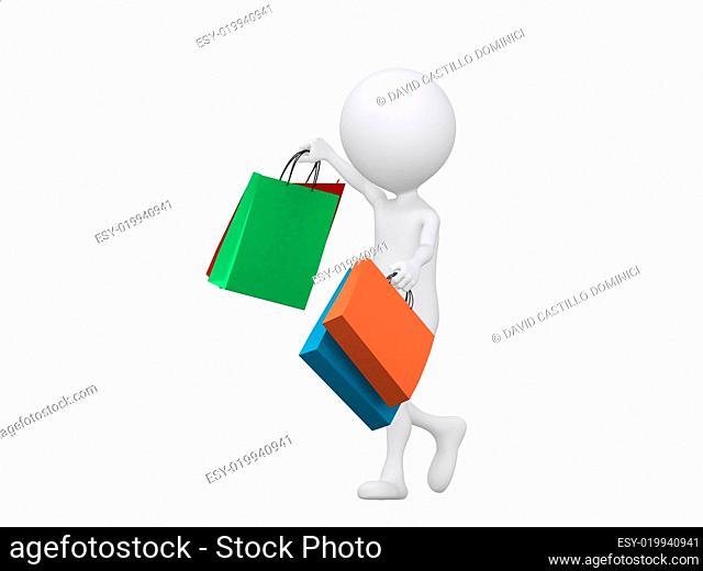3d shopping person holding bags - isolated over a white backgrou