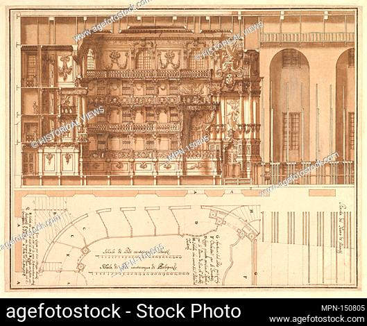 Designs for the Theater at Nancy: Longitudinal Section and Half Ground Plan. Artist: Assistant of Francesco Galli Bibiena (Italian