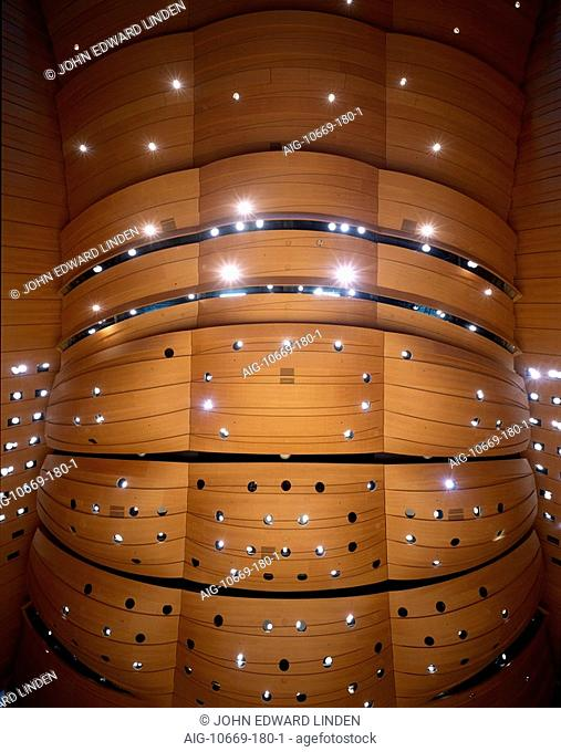 Walt Disney Concert Hall, Downtown Los Angeles - Main Hall ceiling. Architect: Gehry Partners. The Walt Disney Concert Hall is the home of the Los Angeles...