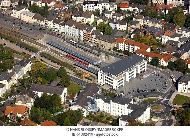 Aerial photo, old town, city center with museum for industrial and city history, terminal train station, city museum, Iserlohn, Maerkischer Kreis, Sauerland