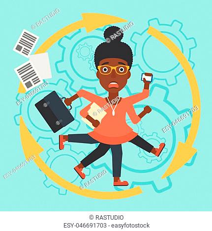 An african-american young business woman with many legs and hands holding papers, briefcase, smartphone. Multitasking and productivity concept