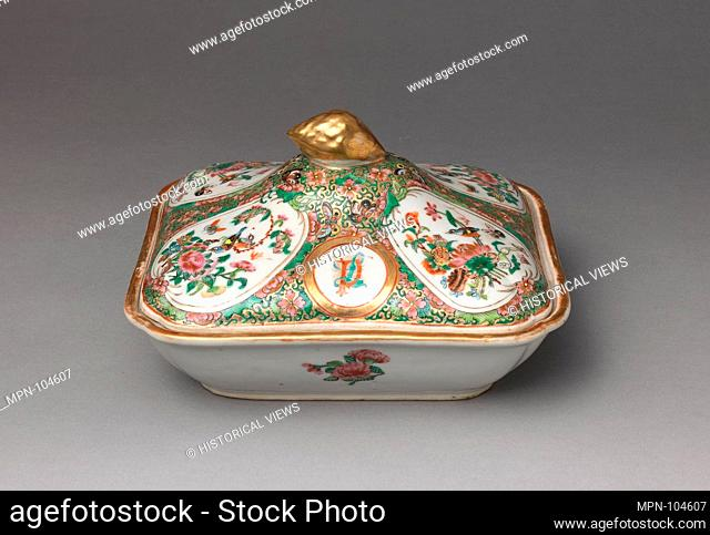 Covered Serving Dish. Date: ca. 1860-66; Geography: Made in China; Culture: Chinese, for American market; Medium: Porcelain; Dimensions: H. 5 9/16 in
