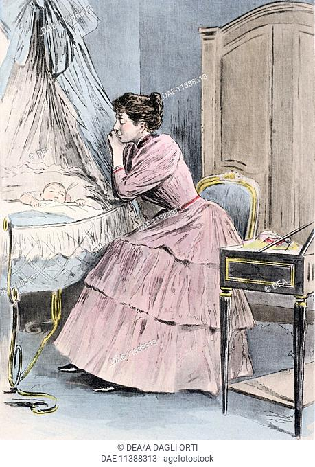 The young mother, 1894, from La Femme a Paris by Octave Uzanne, engraving by Frederic Masse, painted by Pierre Vidal