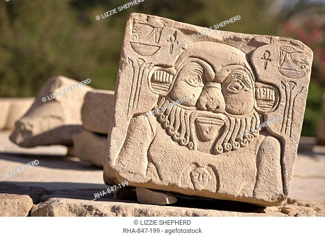 Relief of the god Bes at the Temple of Hathor, Philae, UNESCO World Heritage Site, Nubia, Egypt, North Africa, Africa