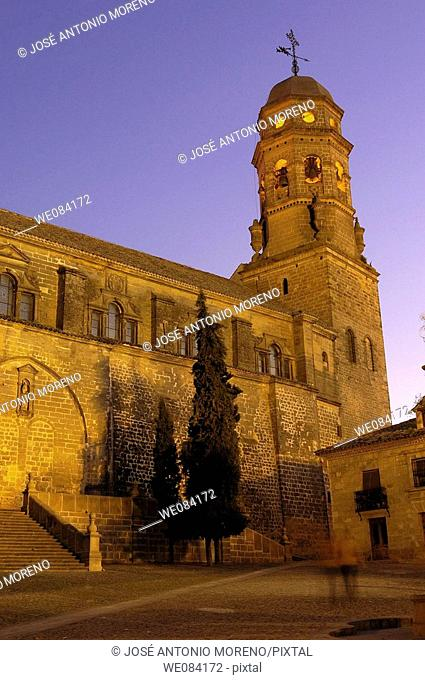 Cathedral (16th century) in St Mary's Square at dusk, Baeza. Jaen province, Andalucia, Spain