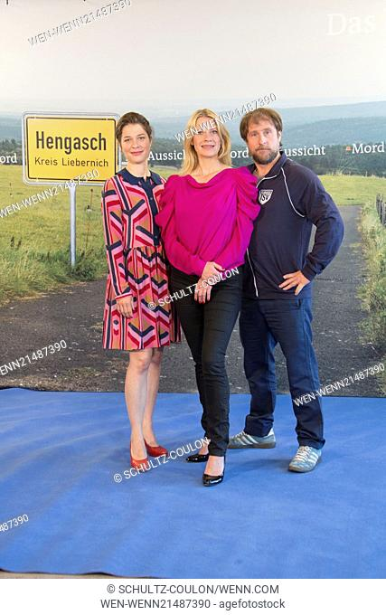 The cast of ARD TV series Mord mit Aussicht promoting the third season at Hotel Royal Merdien. Featuring: Meike Droste,Caroline Peters