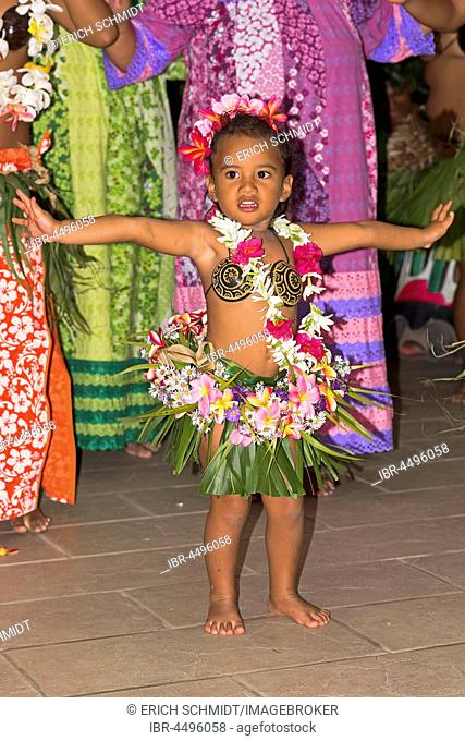 Little girl decorated with flowers, Polynesian dancer, Raiatea, French Polynesia, South Pacific, Oceania