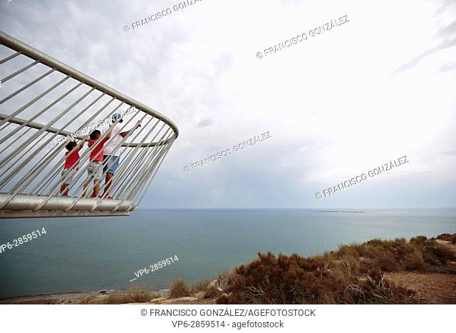 Family on the lookout lighthouse Santa Pola, Spain