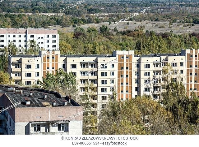 view from roof of 16-storied apartment house in Pripyat town, Chernobyl Nuclear Power Plant Zone of Alienation, Ukraine