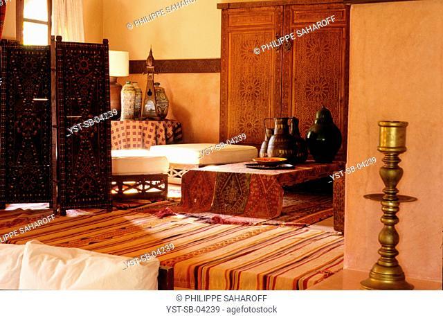 Living room, Riad Tasmna, Marrakech, Morocco, Africa
