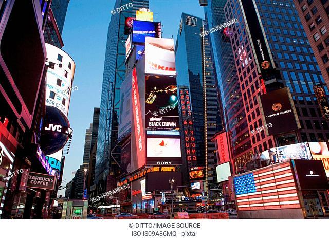 Illuminated billboards Times Square, New York, USA