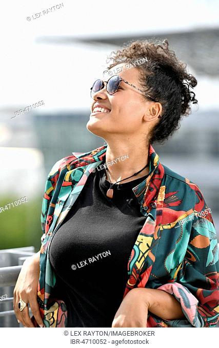 Young Woman, Fashion, Photoshoot, Portrait, Munich Airport, Upper Bavaria, Bavaria, Germany