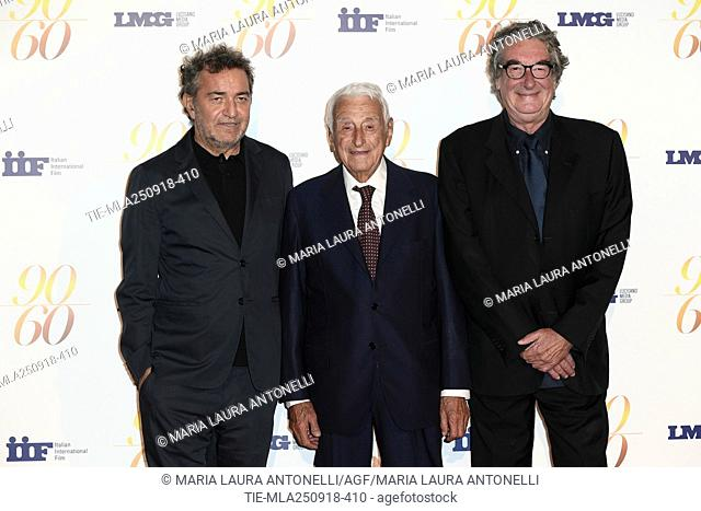 Fulvio Lucisano, Producer Pietro Valsecchi, Director Neri Parenti during red carpet of 60/90 party, for 60 years of career and ninetieth birthday of Fulvio...