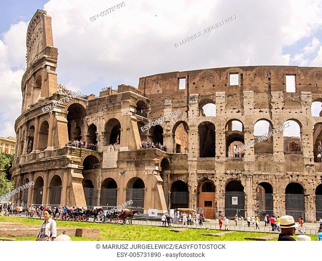 Colosseum is an elliptical amphitheatre in the centre of the city of Rome, Italy