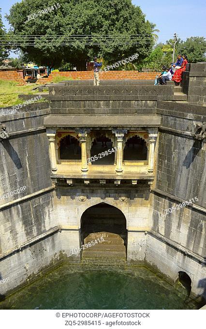 Inside view of Baramotichi Vihir, Stepwell in Limb, Satara, Maharashtra. Constructed between 1641 and 1646 by Virubai Bhosale