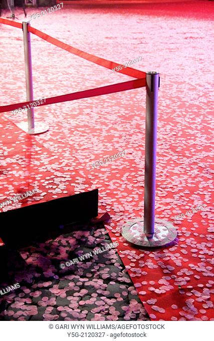 pink confetti on red carpet at event in rome italy