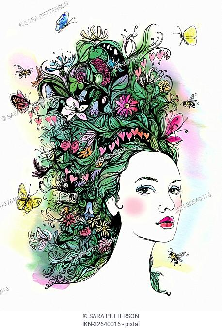 Portrait of a beautiful woman with butterflies and flowers in hair