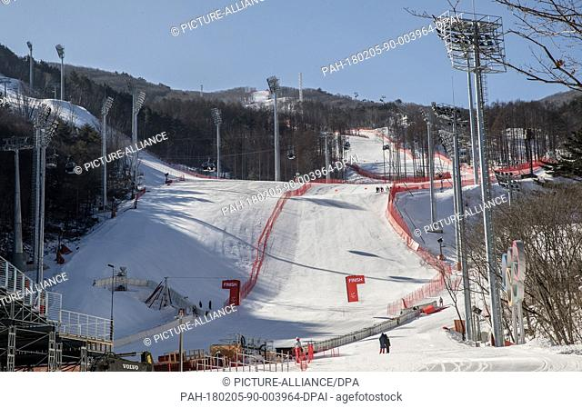 A view of the finish area of the downhill slope at the Jeongseon Alpine Centre near Pyeongchang, South Korea, 05 February 2018