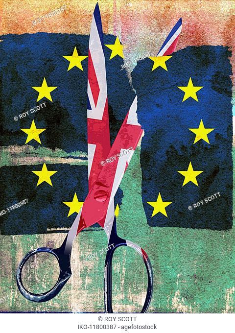 Union Jack scissors cutting European Union flag