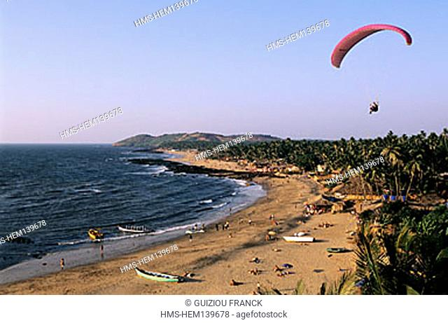 India, Goa State, Anjuna beach, paraglider flight