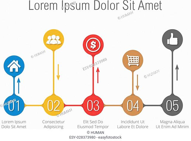 Bar chart infographics template with numbers and icons, vector eps10 illustration