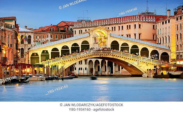 Venice - lightness Rialto Bridge at the evening, Venice, Italy, UNESCO